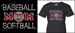 Baseball and Softball Mom Shirt in Bling