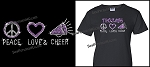 Peace, Love, Cheer Bling Tshirt