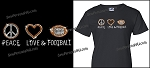 Peace Love Football Bling Shirt