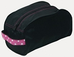 Black and hot pink toiletry bag