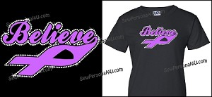 Believe Cancer Ribbon Shirt in bling