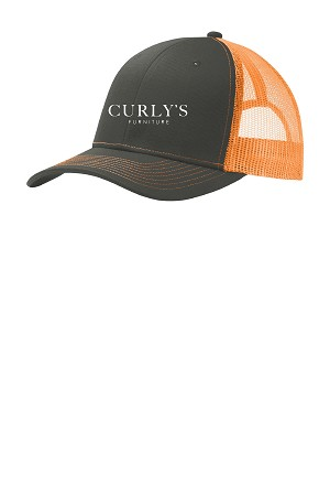Curly's Trucker Hat Gray and Neon Orange