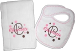 Personalized Baby Burp Cloth and Bib Gift Set